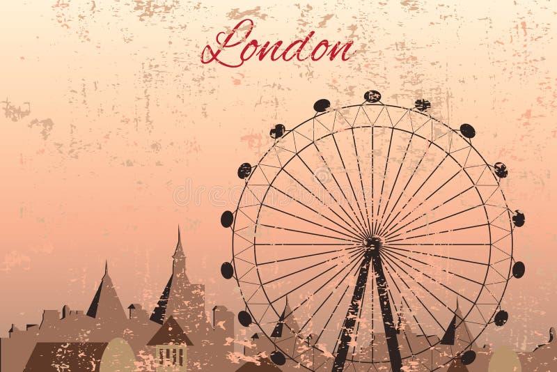 Ręka rysujący Londyński miasto z kołem ilustracji