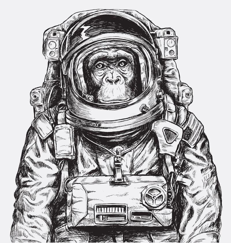 Ręka Rysujący Małpi astronauta wektor royalty ilustracja