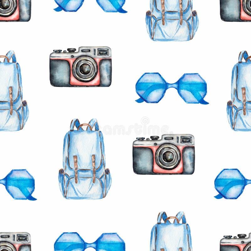 Ręka rysujący malujący bezszwowy wzór z akwareli ilustracją odosobniona podróż protestuje kamerę, okulary przeciwsłoneczni, pleca ilustracji