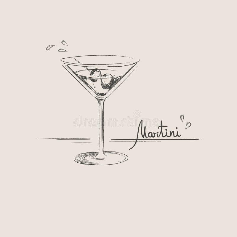 Ręka rysujący Martini szkło odizolowywający ilustracja wektor