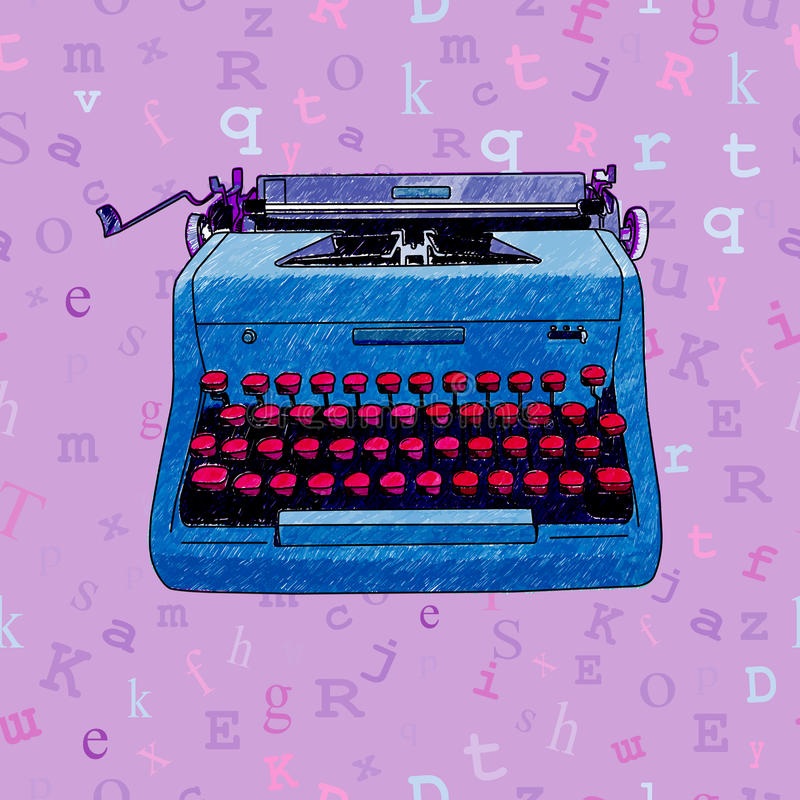 Ręka Rysujący maszyna do pisania Bezszwowy projekt obrazy royalty free