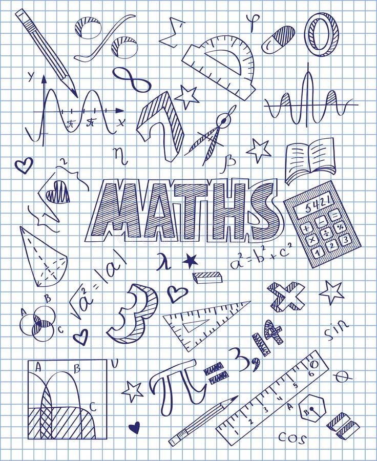 Ręka rysujący Mathematics set ilustracja wektor