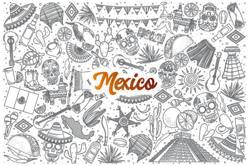 Ręka rysujący Meksyk doodle ustawiający z literowaniem zdjęcia stock
