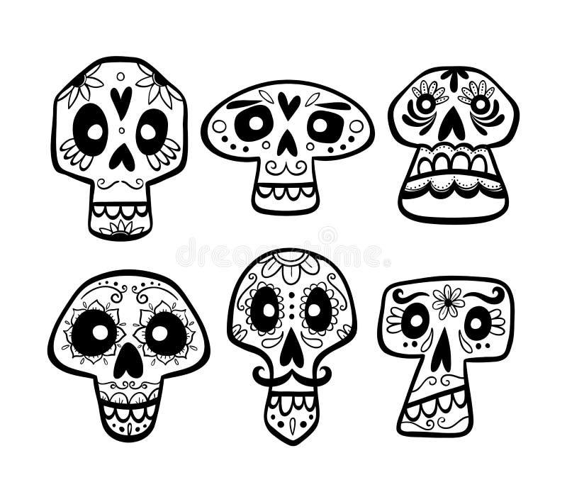 Ręka rysujący meksykański czaszka set również zwrócić corel ilustracji wektora royalty ilustracja