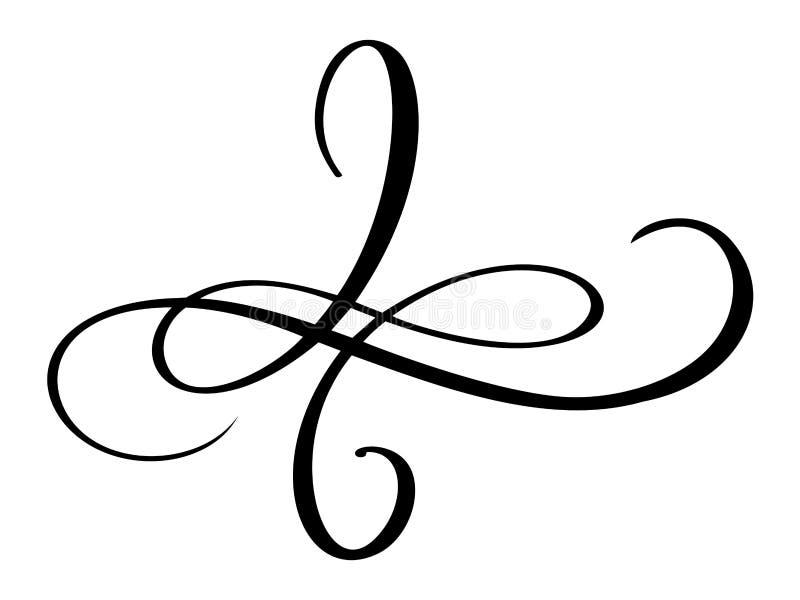 Ręka rysujący miłości granicy zawijasa oddzielacza kaligrafii projektanta elementy Wektorowego rocznika ślubna ilustracja Odizolo ilustracji