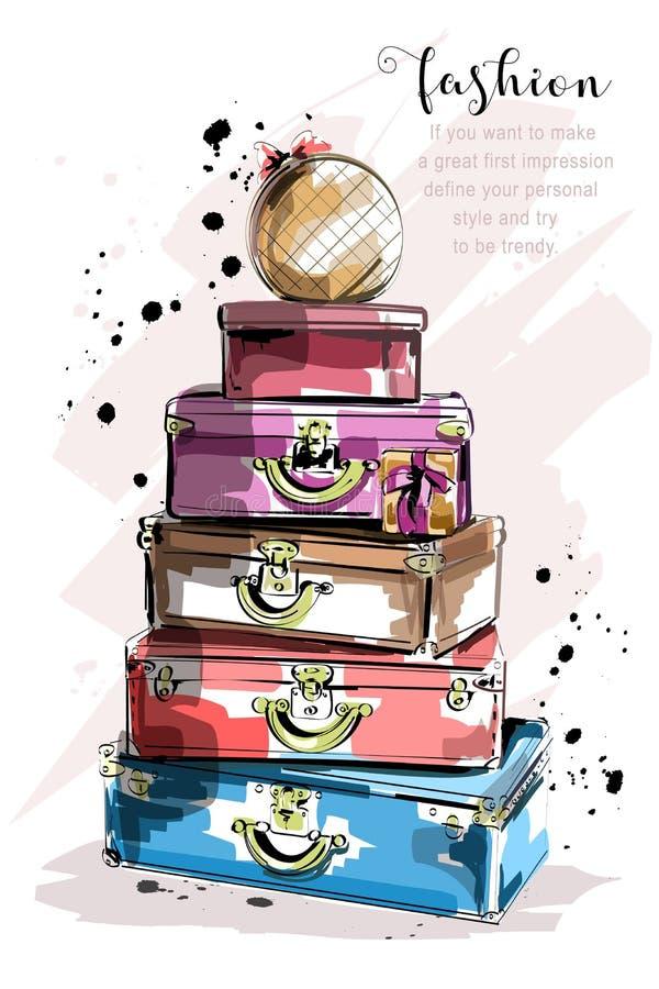 Ręka rysujący moda set z walizkami i torbami Eleganckie torby ilustracji