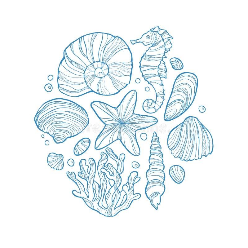 Ręka rysujący monochromatyczny nakreślenie skorupa, seahorse, rozgwiazda, koralowy, i inny denny życie w okręgu ilustracja wektor