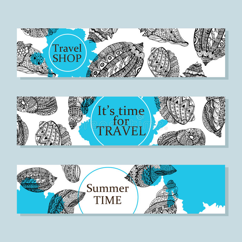 Ręka rysujący morze skorup projekt dla pocztówki, sztandar, karta Wektorowy tło z dennymi skorupy doodle elementami Nakreślenie i royalty ilustracja