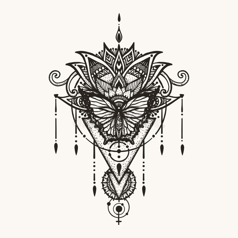 Ręka rysujący motyl na boho kwiatach z geometrycznym symbolem kobieta i astrologia dla kobieta plecy tatuażu, koszulka projekta i ilustracji