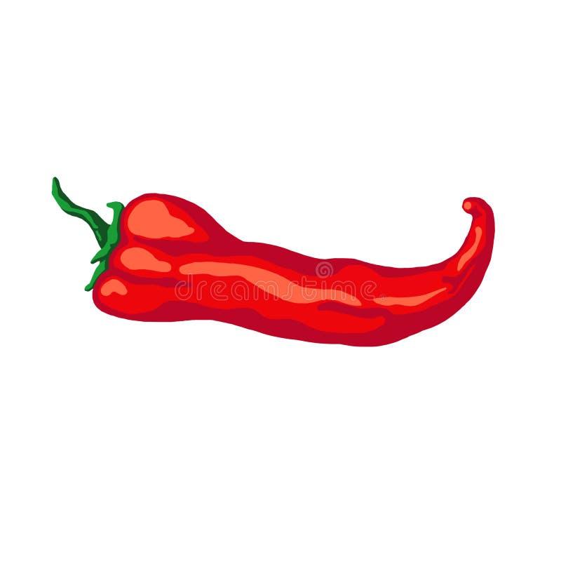 Ręka rysujący nakreślenia chili gorący pieprz, odosobniony na białym tle ilustracji