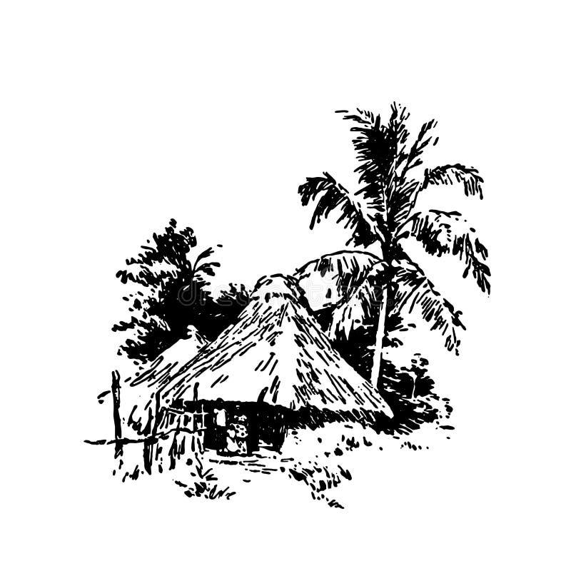Ręka rysujący nakreślenie Afrykański wioska domu czerń na białym tle royalty ilustracja