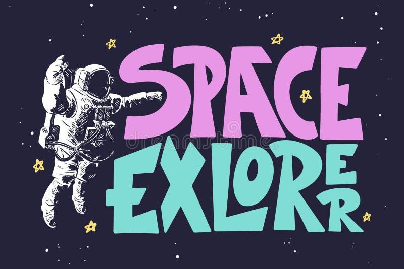 Ręka rysujący nakreślenie astronauta z nowożytnym literowaniem na ciemnym tle Astronautyczny badacz ilustracja wektor