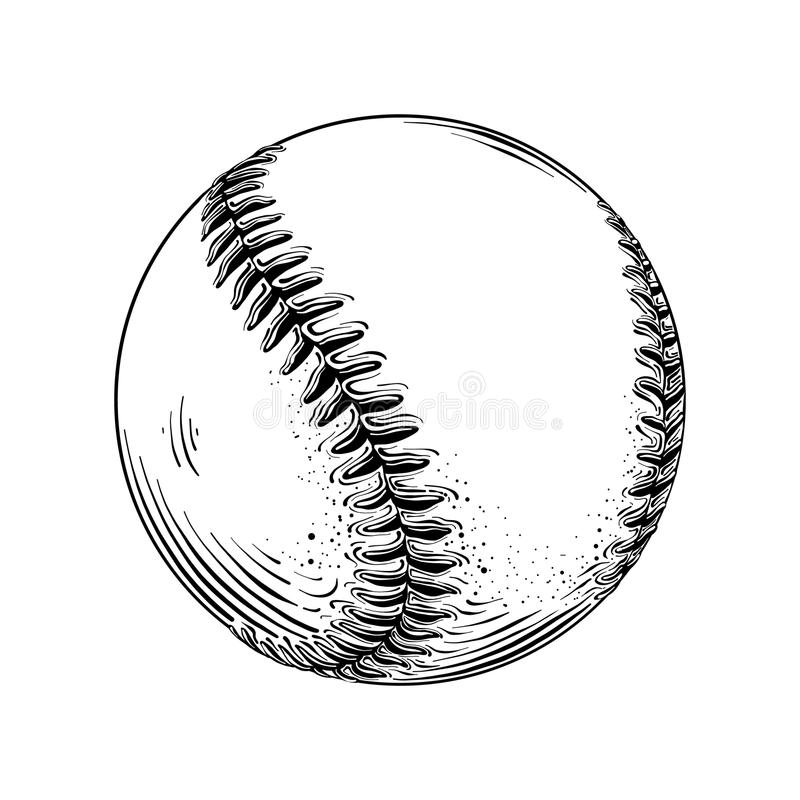 Ręka rysujący nakreślenie baseball piłka w czerni odizolowywającym na białym tle Szczegółowy rocznika stylu rysunek wektor royalty ilustracja