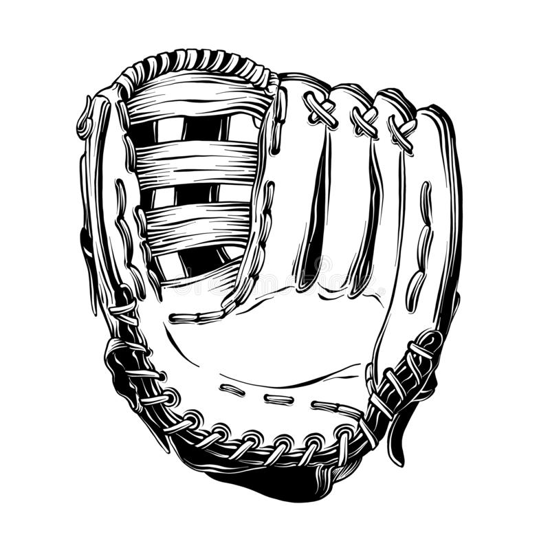 Ręka rysujący nakreślenie baseball rękawiczka w czerni odizolowywającym na białym tle Szczegółowy rocznika stylu rysunek dla plak royalty ilustracja