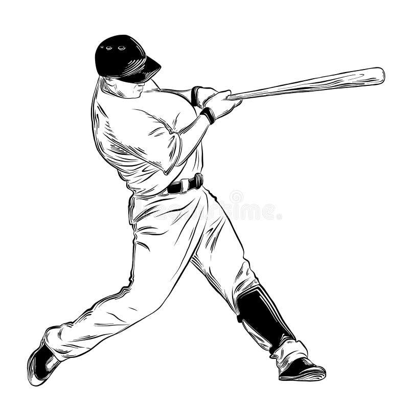 Ręka rysujący nakreślenie baseballa ciasto naleśnikowe w czerni odizolowywającym na białym tle Szczegółowy rocznika stylu rysunek ilustracji