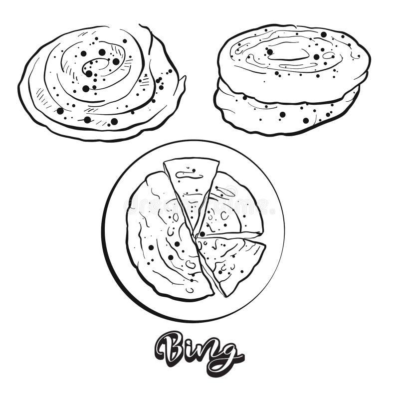 Ręka rysujący nakreślenie Bing chleb ilustracji