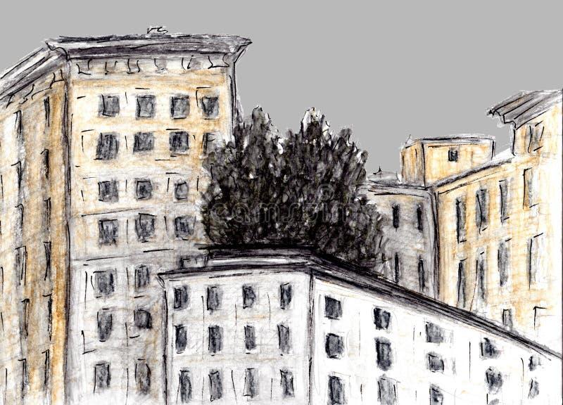 Ręka rysujący nakreślenie budynek Akwareli i węgla drzewnego technika Ilustracja domy w Europejskim Starym miasteczku Rocznik pod ilustracji