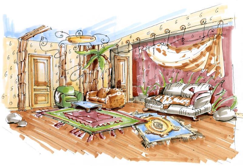 Ręka rysujący nakreślenie dżungla stylu playroom wnętrze royalty ilustracja