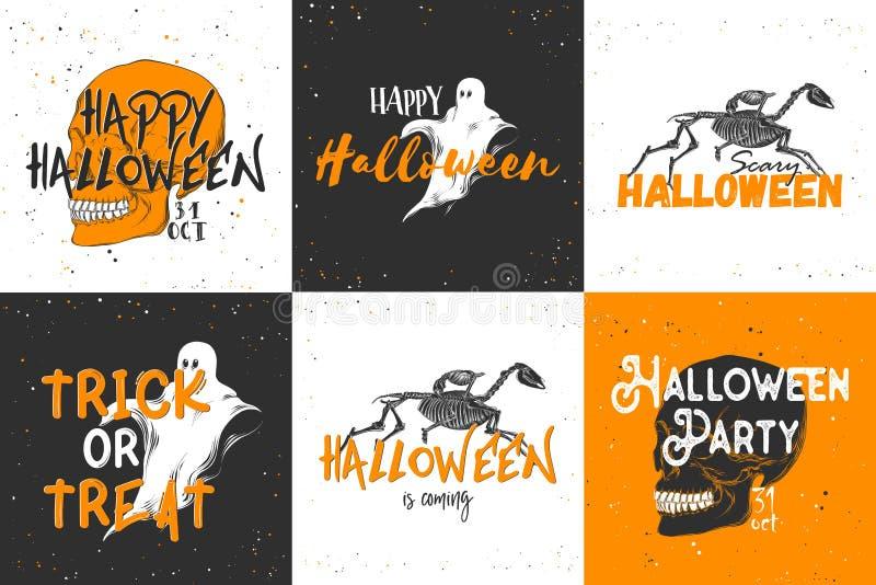 Ręka rysujący nakreślenie duch z nowożytnym tekstem Szczegółowy rocznik akwaforty stylu rysunek, Halloween karty dla zaproszenia ilustracji