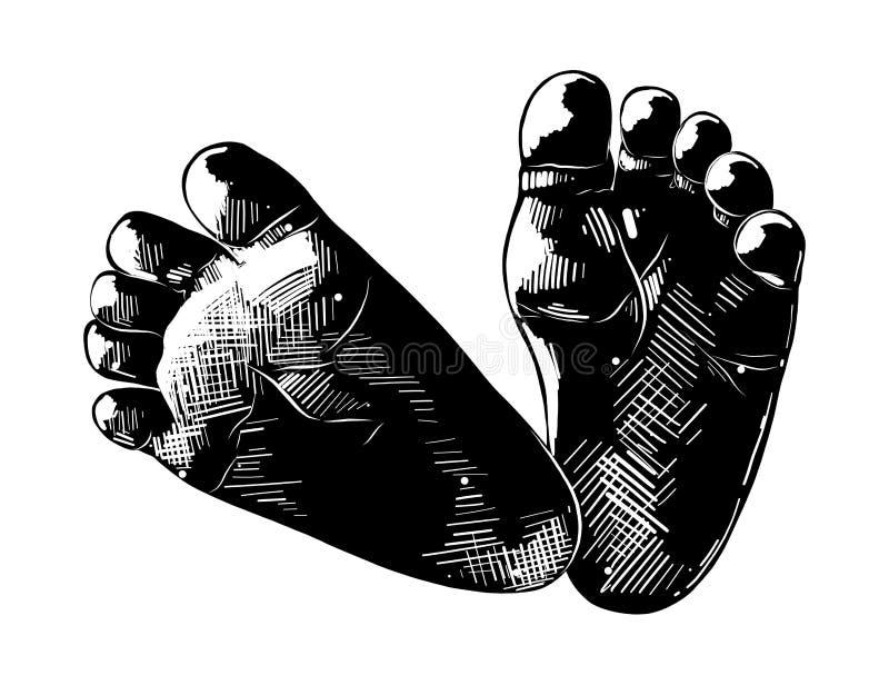Ręka rysujący nakreślenie dziecko foots w czerni odizolowywającym na białym tle Szczegółowy rocznik akwaforty stylu rysunek royalty ilustracja