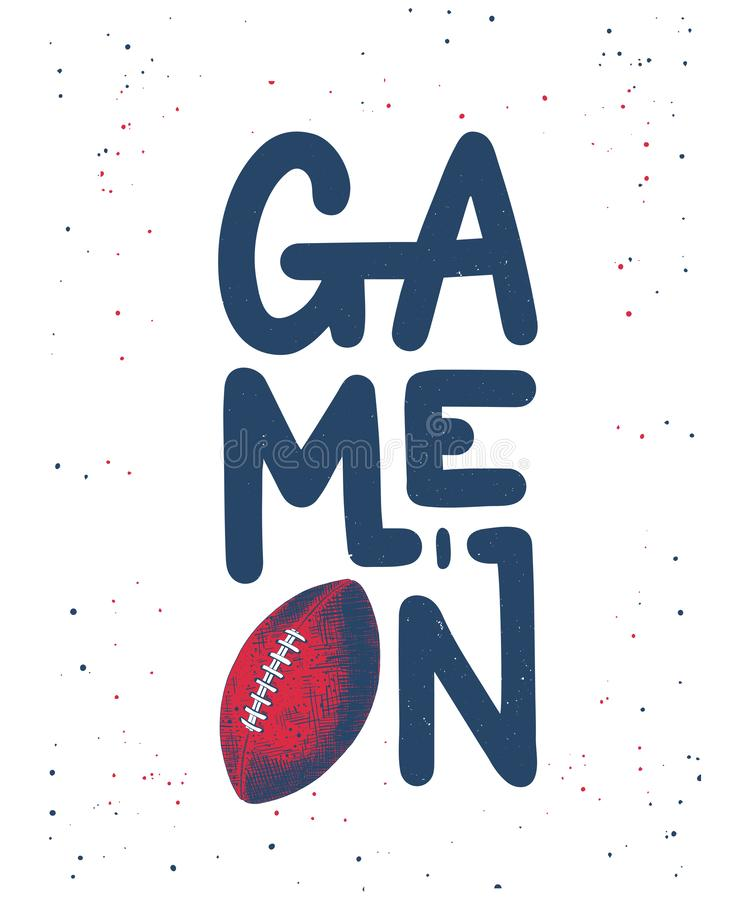 Ręka rysujący nakreślenie futbol amerykański piłka, nowożytny literowanie, gra Dalej na białym tle, ilustracji
