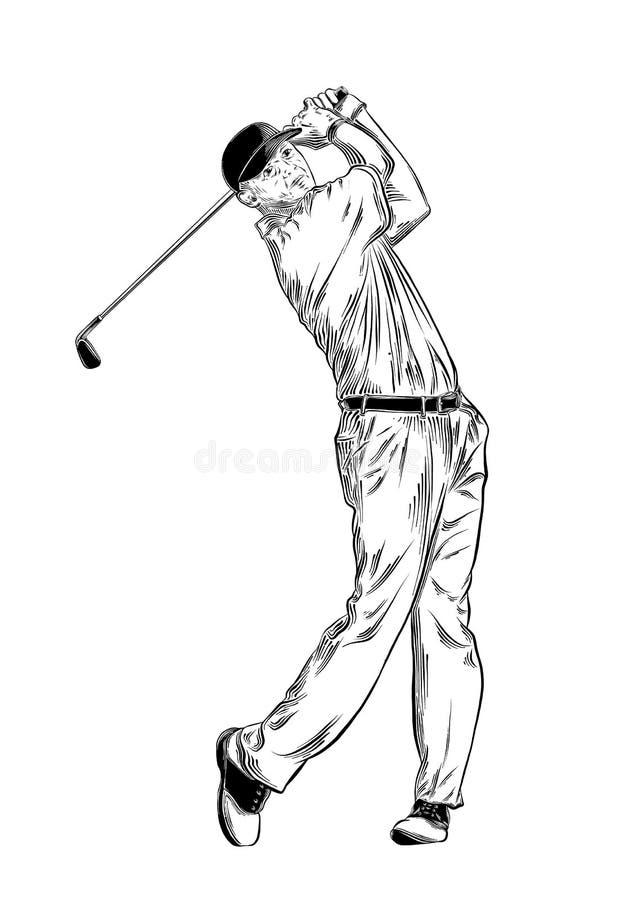 Ręka rysujący nakreślenie golfista w czerni odizolowywającym na białym tle Szczegółowy rocznika stylu rysunek również zwrócić cor ilustracja wektor