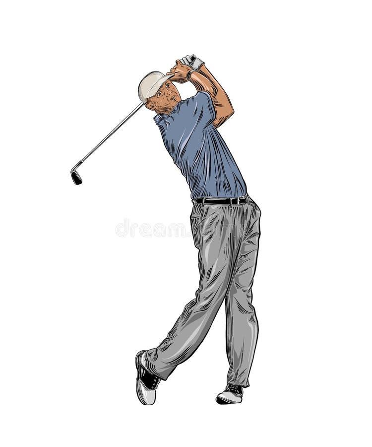 Ręka rysujący nakreślenie golfista w kolorze odizolowywającym na białym tle Szczegółowy rocznika stylu rysunek również zwrócić co ilustracja wektor