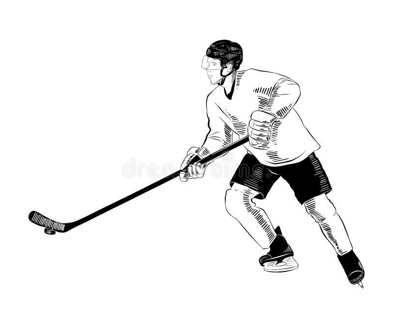 Ręka rysujący nakreślenie gracz w hokeja w czerni odizolowywającym na białym tle Szczegółowy rocznik akwaforty stylu rysunek royalty ilustracja