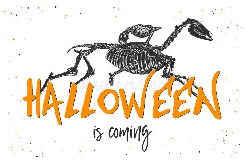 Ręka rysujący nakreślenie kościec bezgłowy jeździec z nowożytnym typografia tekstem Szczegółowy rocznik akwaforty styl, Halloween ilustracji
