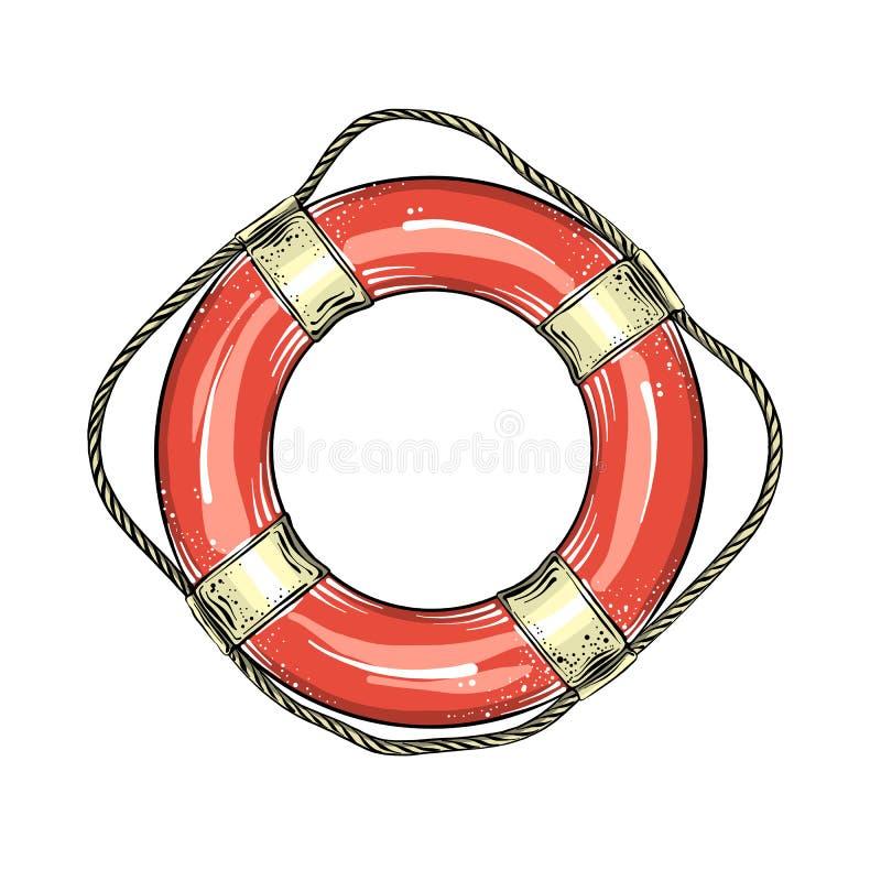 Ręka rysujący nakreślenie lifebuoy w czerwonym i białym kolorze, odosobniony na białym tle Szczegółowy rocznika stylu rysunek ilustracji