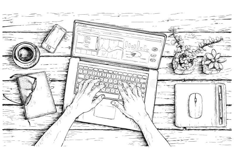 Ręka rysujący nakreślenie pracujący miejsce kreatywnie mężczyzna również zwrócić corel ilustracji wektora royalty ilustracja