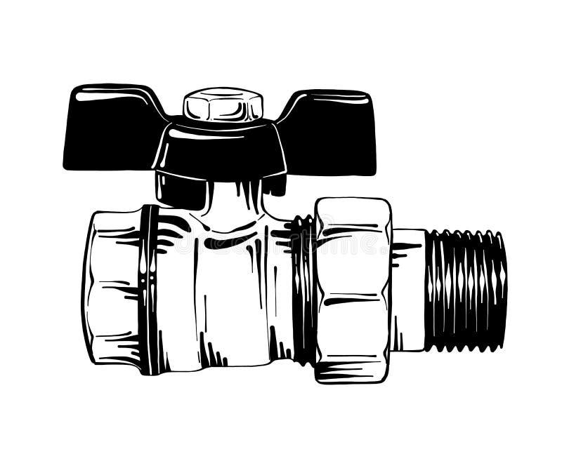 Ręka rysujący nakreślenie przerwy klapa, pionuje narzędzie w czerni odizolowywającym na białym tle Szczegółowy rocznik akwaforty  royalty ilustracja