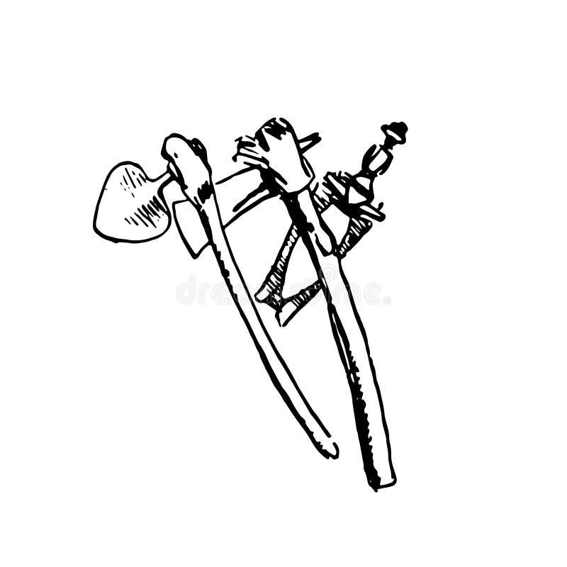 Ręka rysujący nakreślenie rodzimy Afrykański broni czerń na białym tle ilustracja wektor