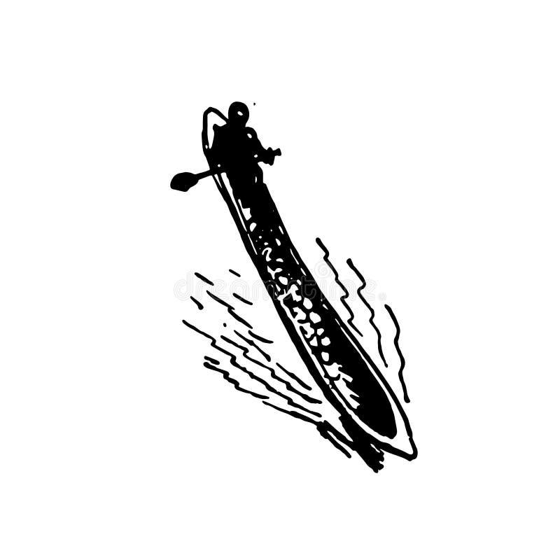 Ręka rysujący nakreślenie rodzimy Afrykański broni czerń na białym tle ilustracji
