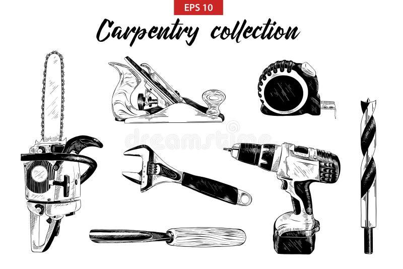 Ręka rysujący nakreślenie set ciesielek narzędzia odizolowywający na białym tle ilustracja wektor