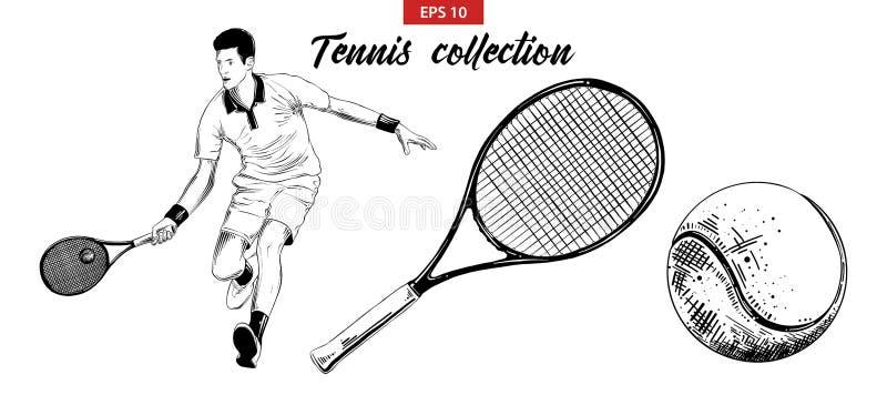 Ręka rysujący nakreślenie set gracz w tenisa, tenisowy kant i piłka odizolowywający na białym tle, Szczegółowy rocznik akwaforty  royalty ilustracja