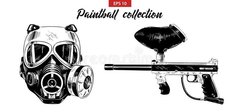 Ręka rysujący nakreślenie set paintball pistolet odizolowywający na białym tle maska i Szczegółowy rocznik akwaforty rysunek ilustracji