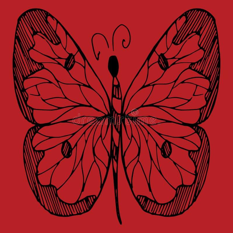 Ręka rysujący nakreślenie stylu motyl Retro pociągany ręcznie wektorowa ilustracja Doodle i zentangle sztuka ilustracja wektor