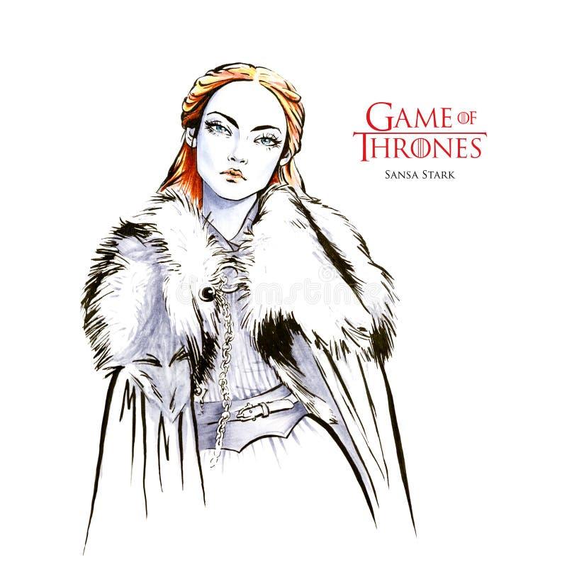 Ręka rysujący nakreślenie Surowy Sansa, gra trony ilustracji