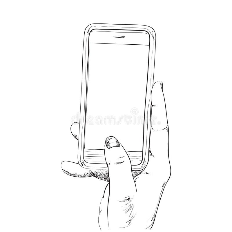 Ręka rysujący nakreślenie telefon komórkowy royalty ilustracja