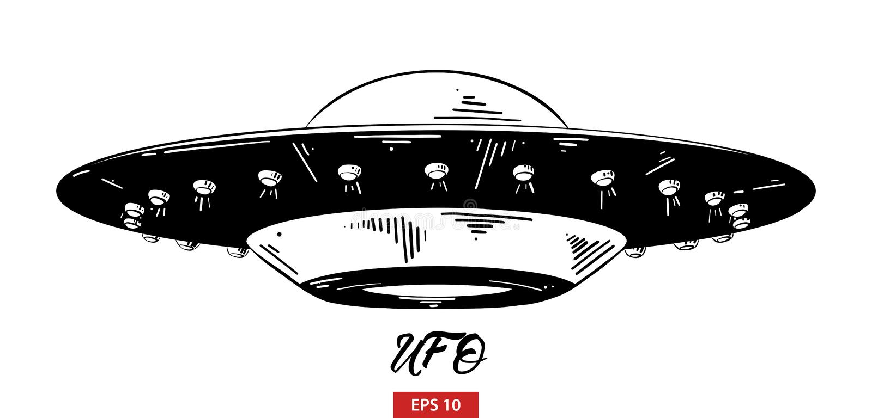 Ręka rysujący nakreślenie ufo w czerni odizolowywającym na białym tle Szczegółowy rocznik akwaforty stylu rysunek ilustracja wektor