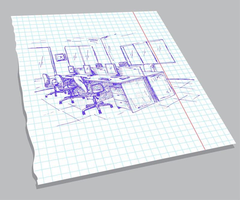 Ręka rysujący nakreślenie wnętrze na notatnika prześcieradle Szybki rysunek biurowy meble Wektorowa ilustracja w nakreślenie styl ilustracji
