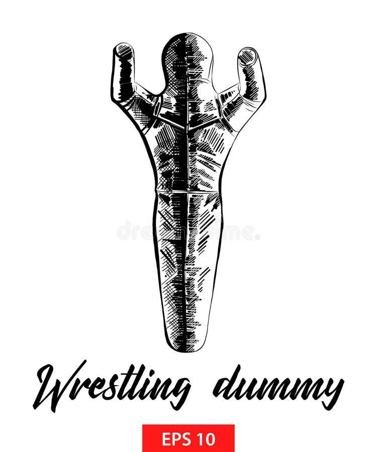 Ręka rysujący nakreślenie zapaśnicza atrapa w czerni odizolowywającym na białym tle Szczegółowy rocznik akwaforty stylu rysunek ilustracji