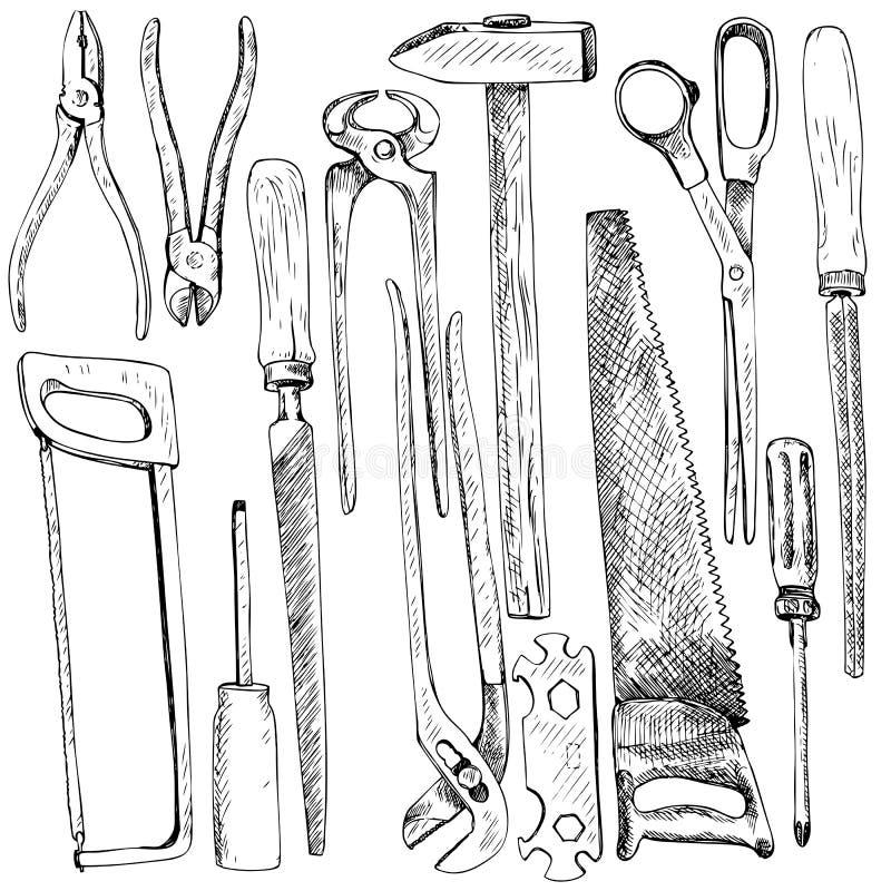 Ręka rysujący narzędziowy zestaw royalty ilustracja