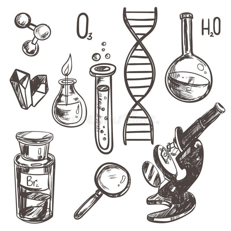 Ręka rysujący nauka rocznika lab ikon nakreślenia piękny set również zwrócić corel ilustracji wektora ilustracji