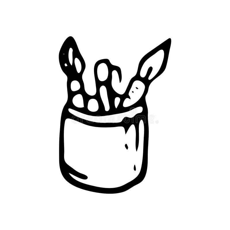 Ręka rysujący ołówkowej skrzynki doodle Nakreślenie Z powrotem szkoła, ikona odszyfrowywa ilustracja wektor