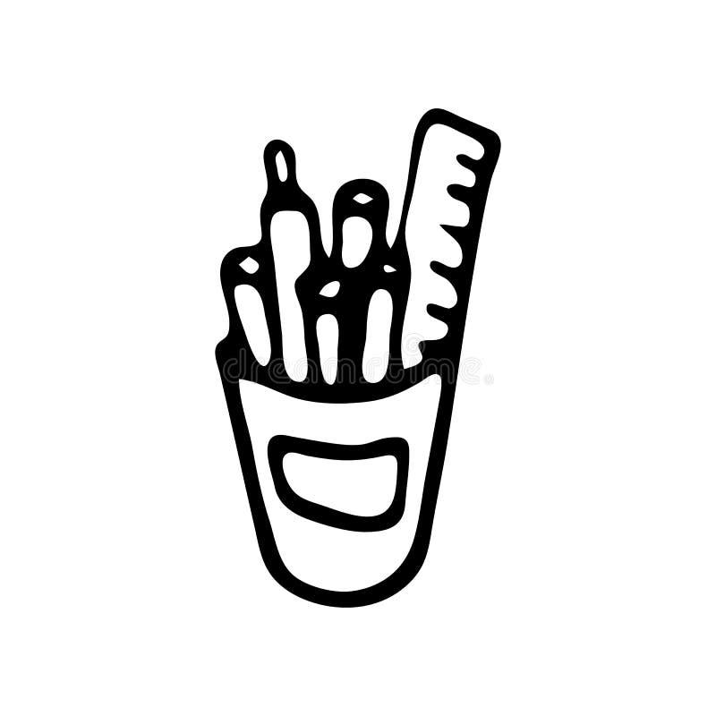 Ręka rysujący ołówkowej skrzynki doodle Nakreślenie Z powrotem szkoła, ikona odszyfrowywa ilustracji