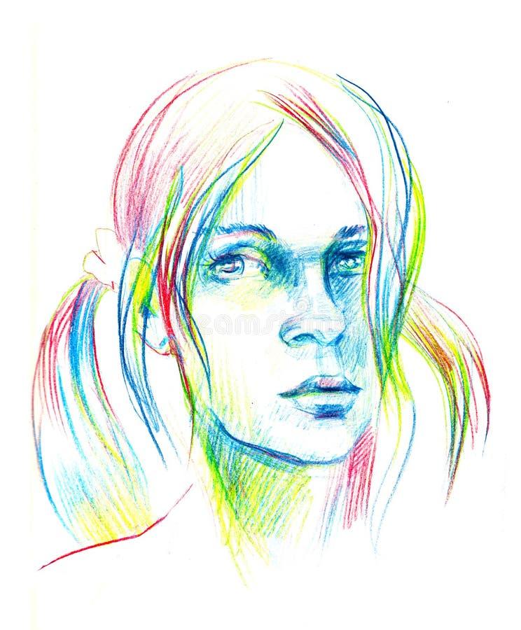 Ręka rysujący ołówkowy nakreślenie z twarzą dziewczyna Żeński portret ilustracja wektor