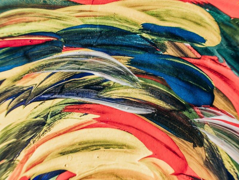Ręka rysujący obraz sztuki abstrakcjonistycznej tło blisko płótna malować, Kolor tekstura Czerep grafika Brushstrokes farba moder royalty ilustracja
