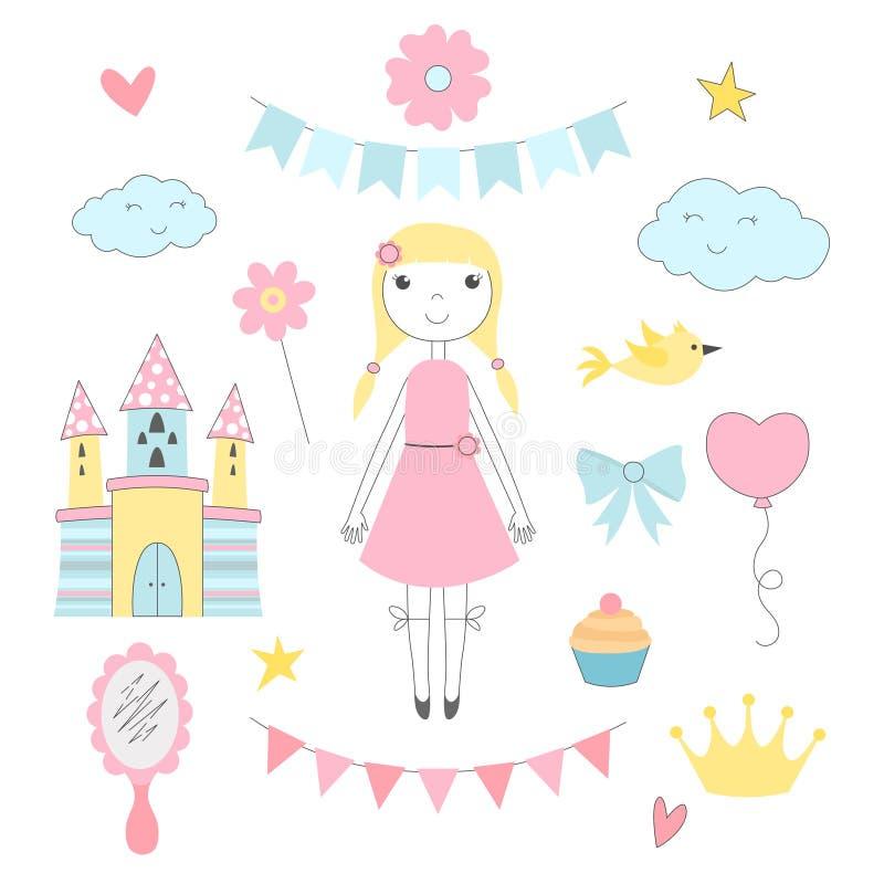 Ręka rysujący obrazki dla dzieciaków Princess z jej bajka kasztelem ilustracji